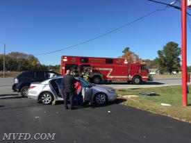 Squad 2 on the scene of a two vehicle collision in Charlotte Hall
