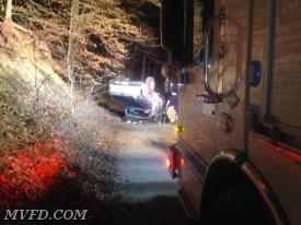 Crews responded to this MVA with Entrapment on the dirt portion of Mount Wolf Road.