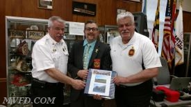 MVFD President John Montgomery, MSFA President Mike Davis, and MVFD's Past-President Bill Smith.