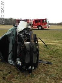 Units operated at this single vehicle accident on Monday afternoon.