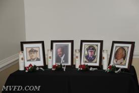 Memorial Table honoring:  Chuck Misamore, Michael Pilkerton, Jimmy Mattingly, and Billy Guy.