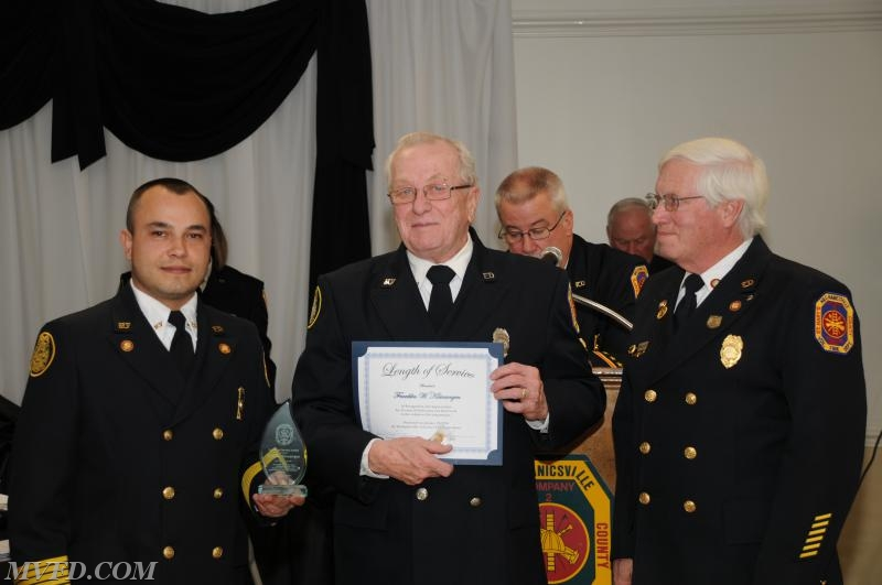 President Montgomery, Chief Trowbridge and 1st Vice President Dennis Bellevou presents Frank Kleinsorgen with his Length of Service Award for 15 years.