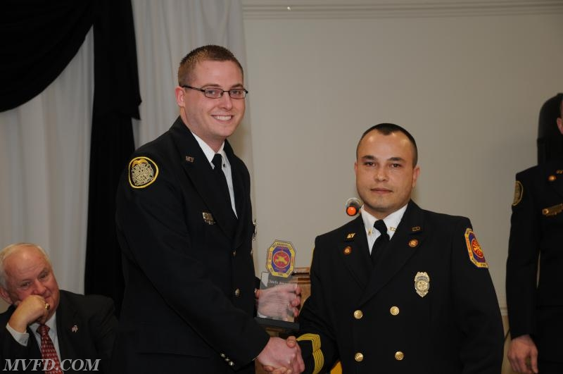 Chief Trowbridge and Tyler Raley with the Chief's Award.