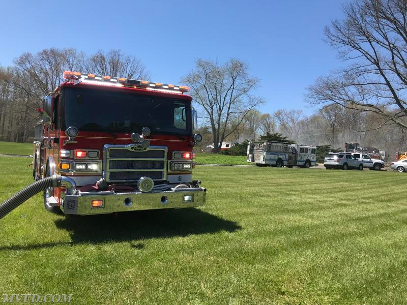 Engine 23 operating 2nd with water supply at a working house fire in the Hughesville section of Charles County.