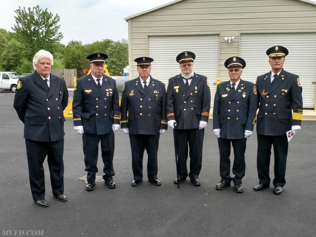 Escorts representing MVFD for the Memorial Service.  L to R - Artie Guy, President John S. Montgomery, BOD J. Paul Colonna, Larry Greenwell, 1st Vice President Dennis Bellevou, and BOD Bobby Johnson.