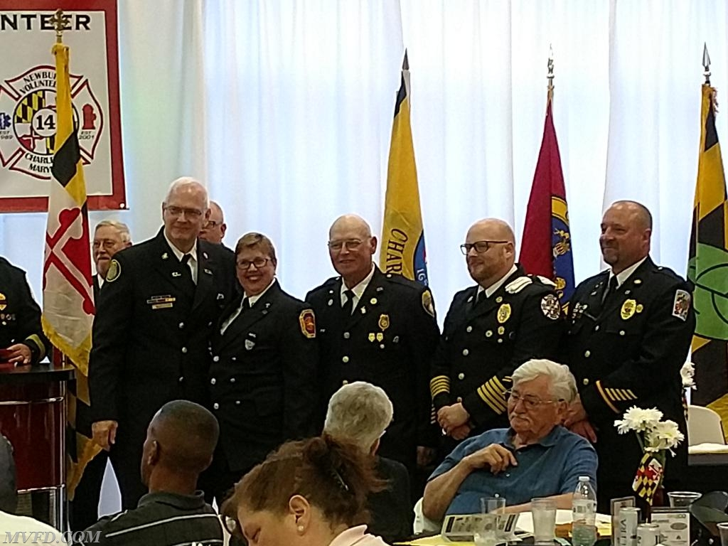 Fire Prevention Officer Theresa Palmer accepts an award for a special project for MVFD's fire prevention program