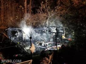 Evening RV Trailer Fire