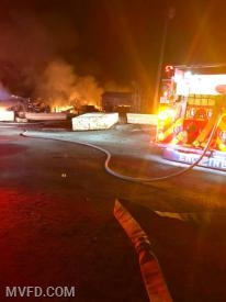 Volunteers responded to this sawmill fire off Thompson Corner Road.