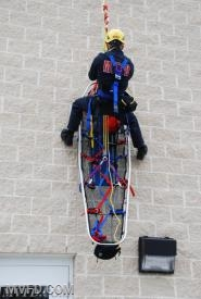 Utilizing our new rope rescue equipment we received in a grant from Firehouse Subs.
