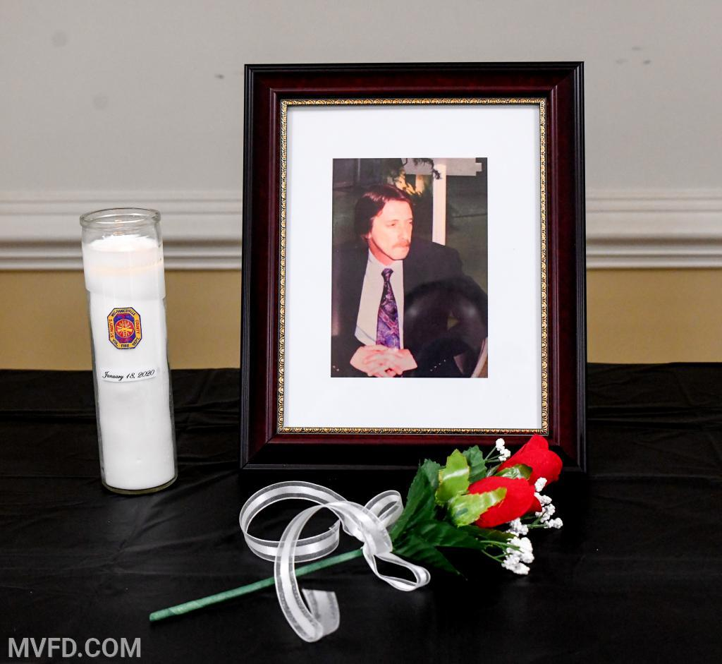 Memorial table for deceased member Bernie Raley