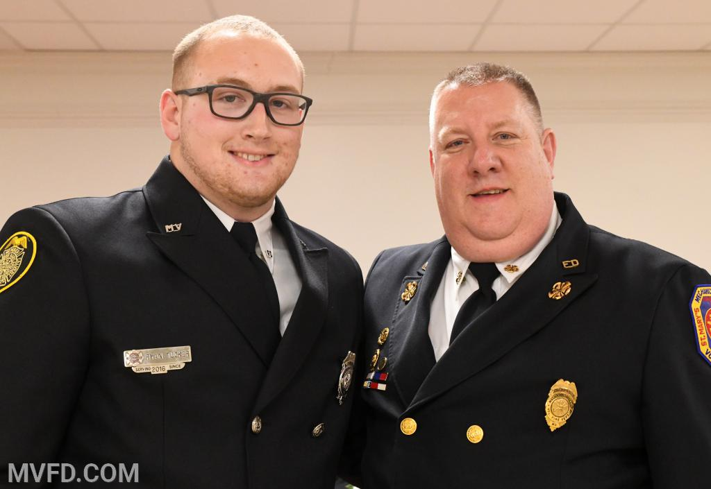 "Ryan Tucker #4 responder and Asst. Chief John ""T-Bone"" Raley"
