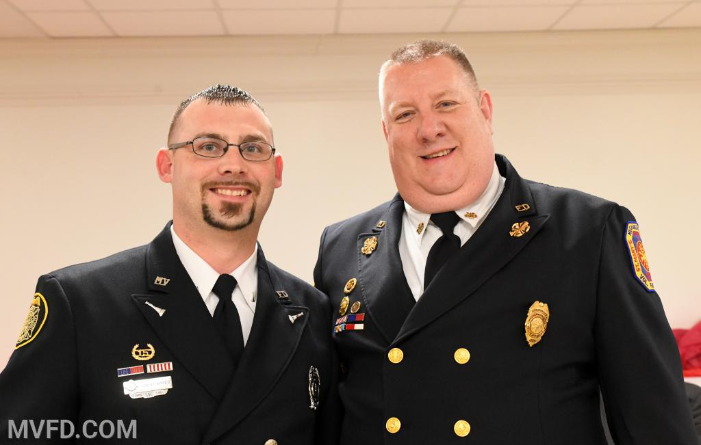 "Robert Barnes #5 responder and Asst. Chief John ""T-Bone"" Raley"