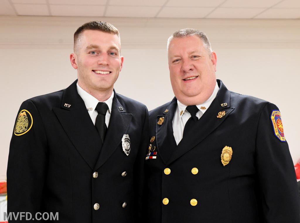 """Kyle Hayden #5 driverand Asst. Chief John """"T-Bone"""" Raley"""
