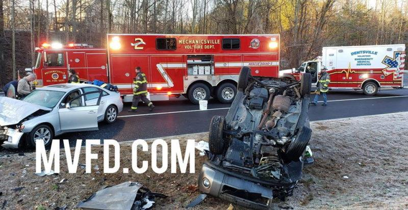 Minor Injuries Reported After Rollover Crash in Mechanicsville