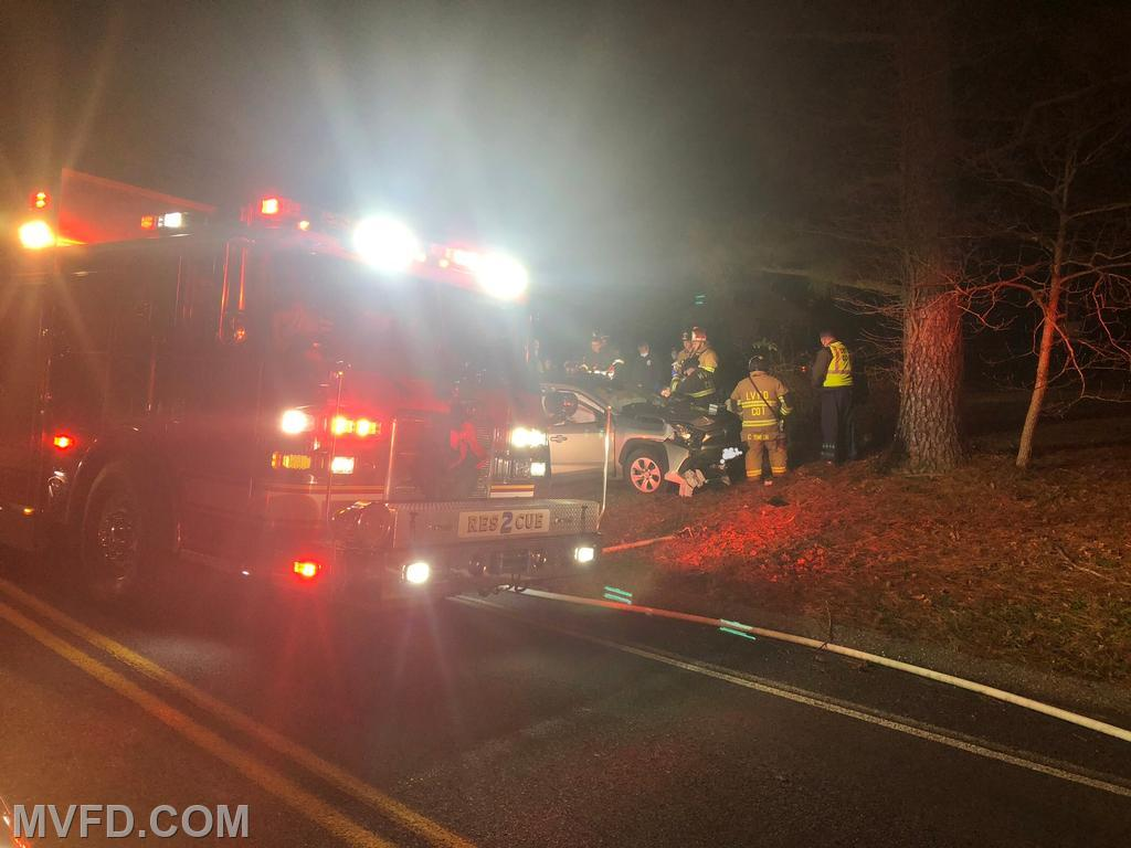 Firefighters operate on a serious accident on Morganza Turner Road