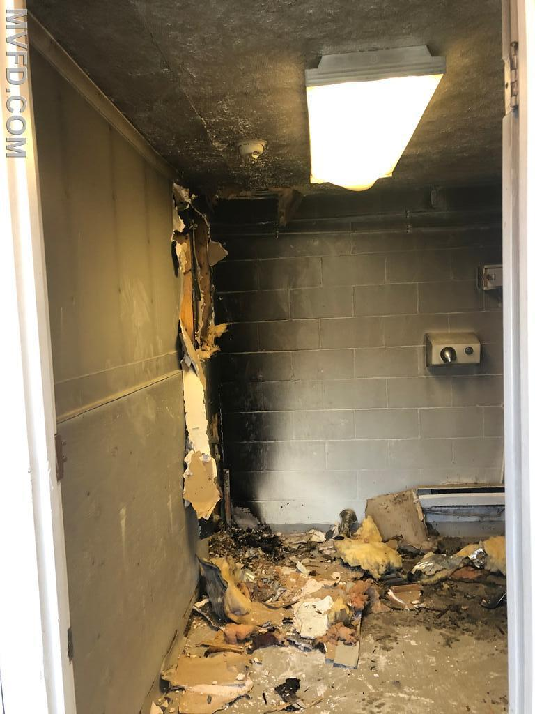 Crews responded to this bathroom fire at the Farmers Market.