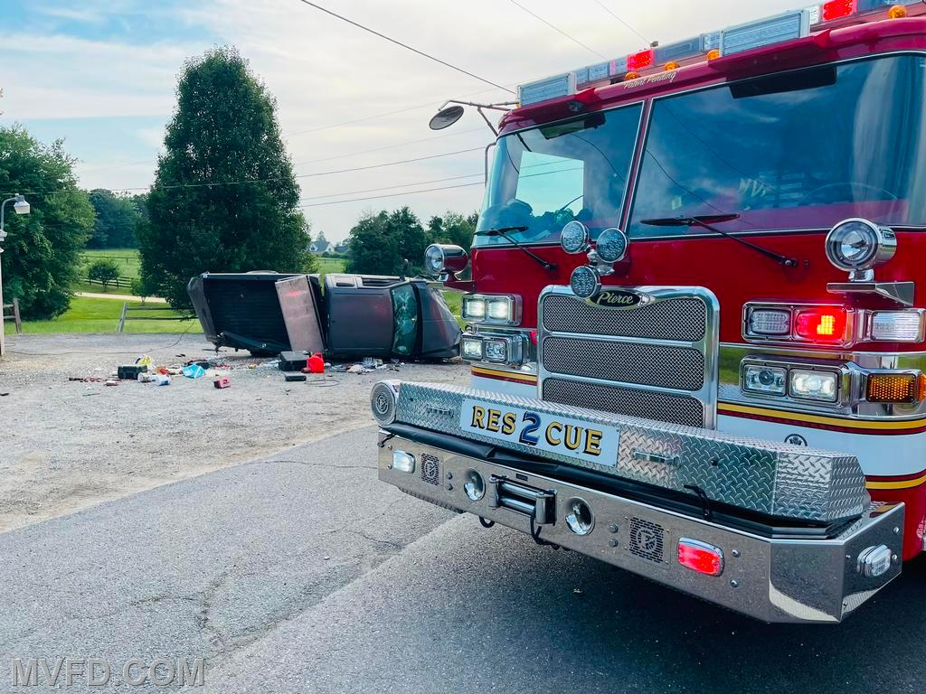 Firefighters responded to this overturned vehicle in the first due